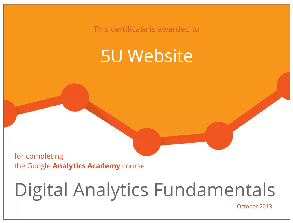 Certificate for Digital Analytics Fundamentals by Google