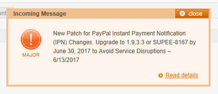 Magento PayPal IPN Patch SUPEE 8167 before 2017Jun30